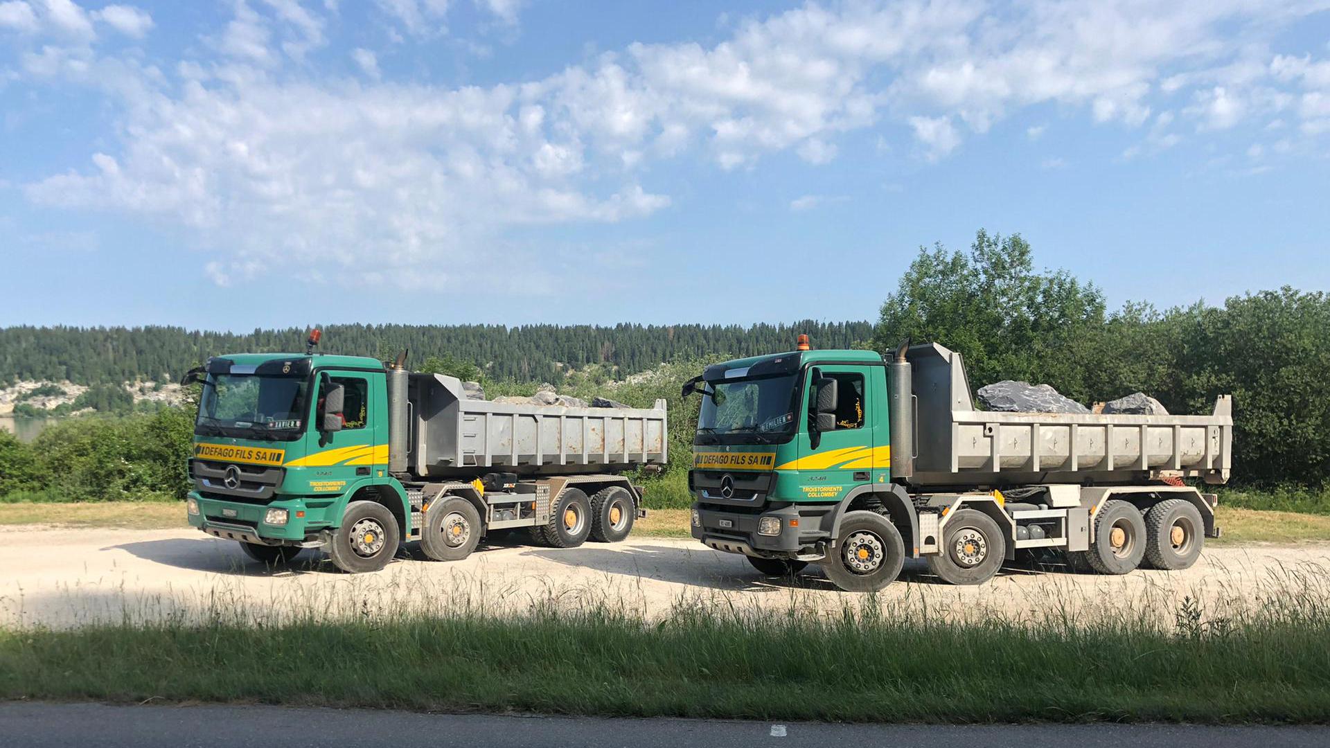 Transport et mise en place d'enrochements